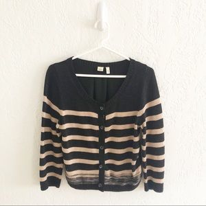 Anthropologie Moth Striped Button Cardigan Sweater